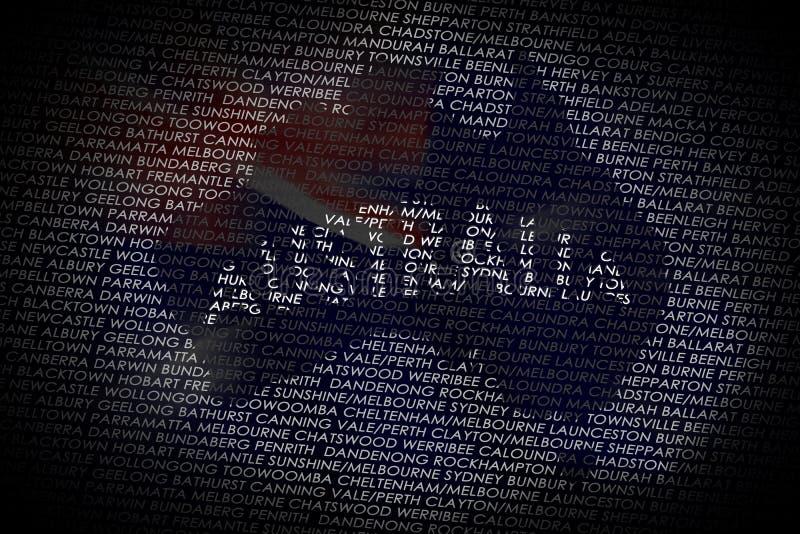 De kaart van Australië van tekst royalty-vrije illustratie