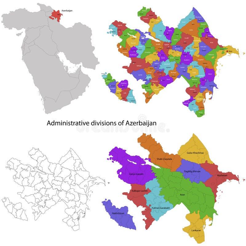De kaart van Azerbeidzjan stock illustratie