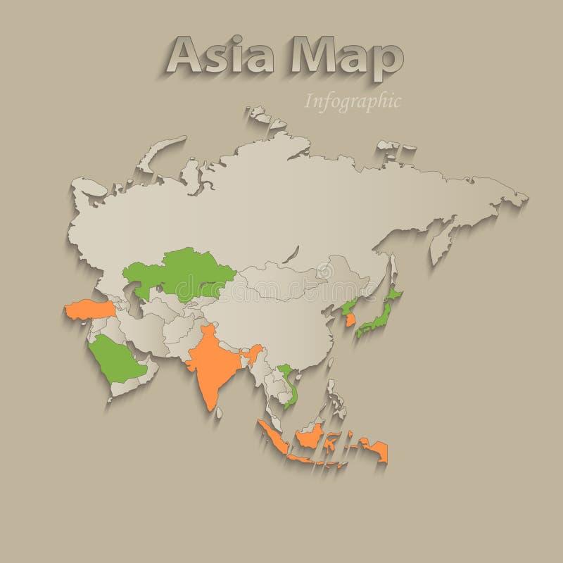 De kaart van Azië met individuele gescheiden staten, infographics met pictogrammen royalty-vrije illustratie