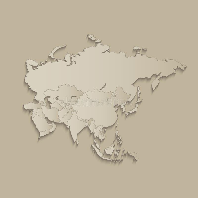 De kaart van Azië met individuele gescheiden staten, infographics met pictogrammenspatie royalty-vrije illustratie