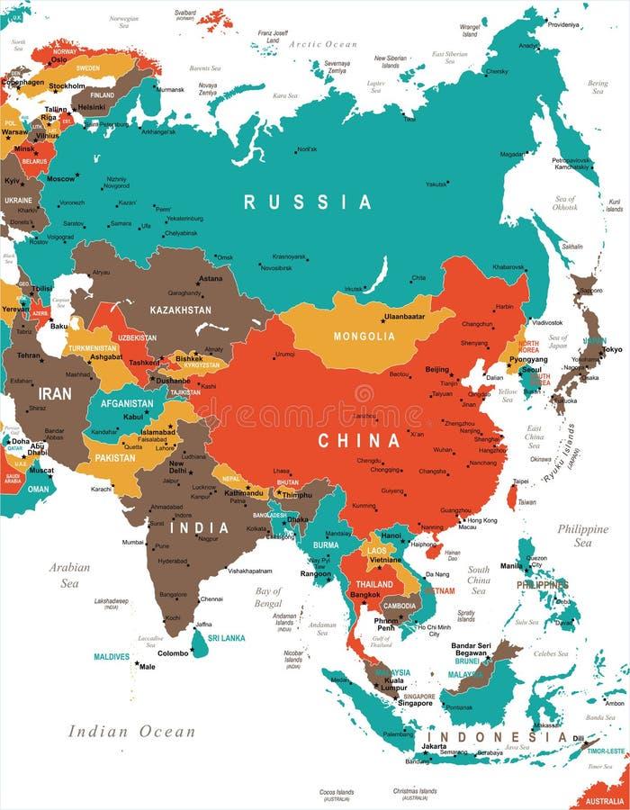 De Kaart van Azië - Vectorillustratie royalty-vrije illustratie