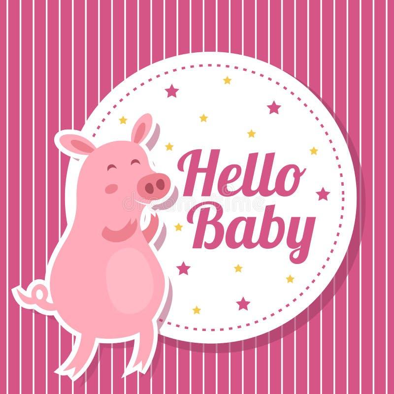 De kaart van de babydouche met leuk varken royalty-vrije illustratie