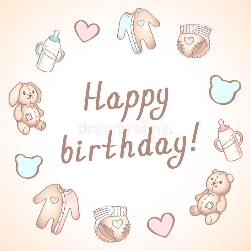 De kaart van de babyverjaardag, douchekaart, affiche, malplaatje Leuke vectorillustraties Reeks van babyspeelgoed, het voeden en  stock illustratie