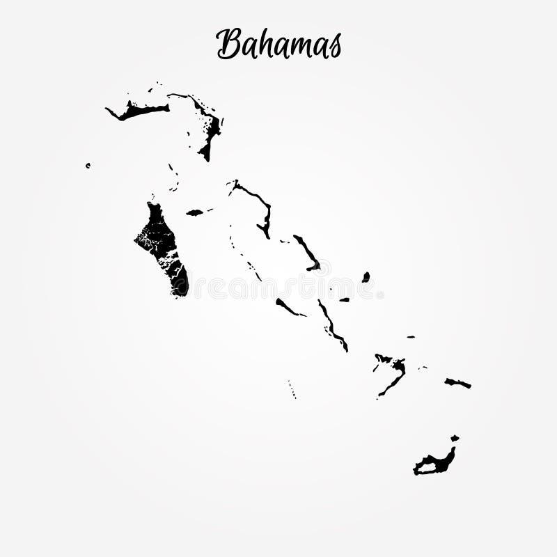 De kaart van de Bahamas royalty-vrije illustratie