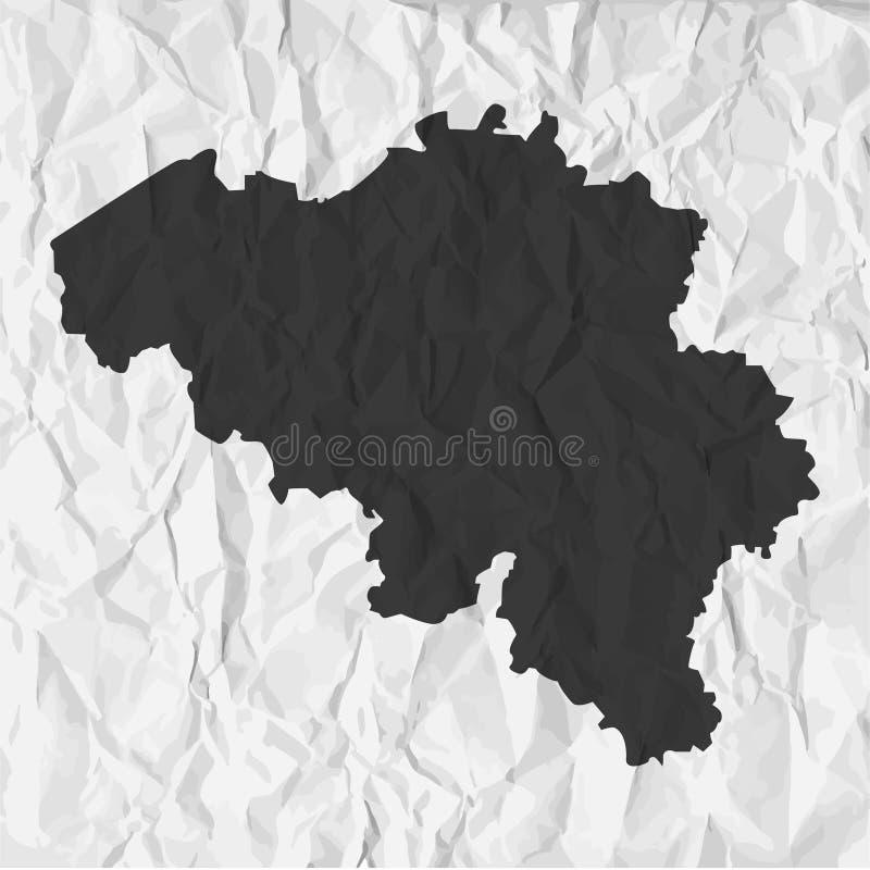 De kaart van België in zwarte op een achtergrond verfrommeld document royalty-vrije illustratie