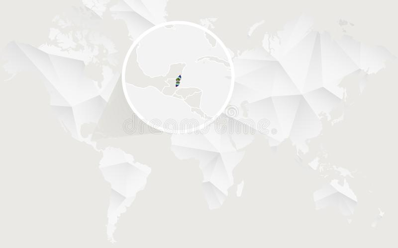De kaart van Belize met vlag in contour op witte veelhoekige Wereldkaart stock illustratie