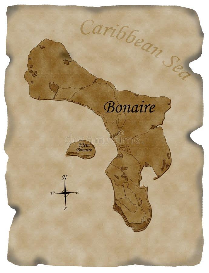 De kaart van Bonaire op gebrand perkament royalty-vrije stock afbeeldingen