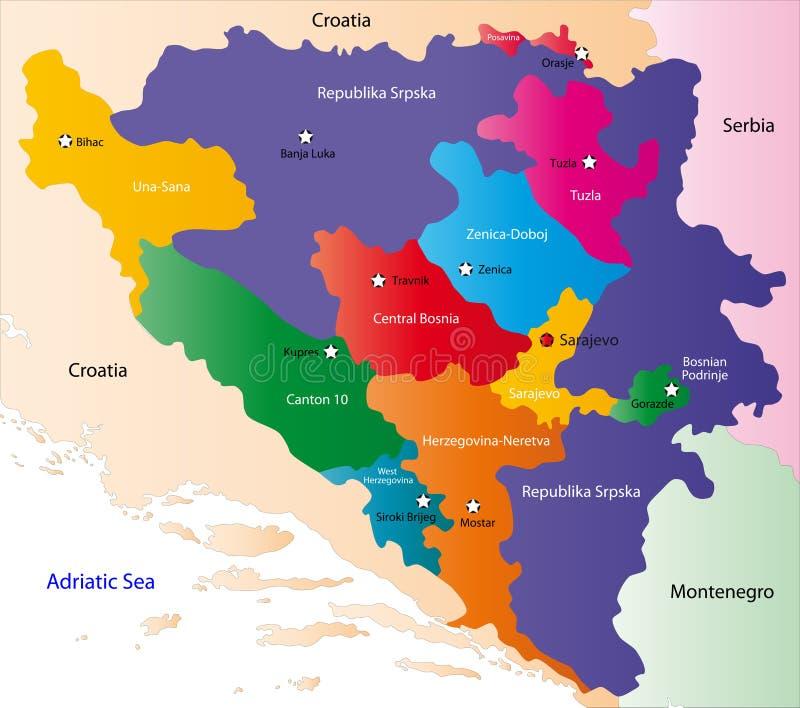 De kaart van Bosnië-Herzegovina vector illustratie