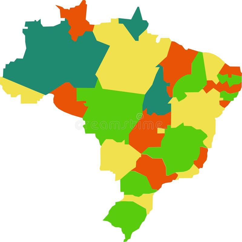 De kaart van Brazili royalty-vrije illustratie