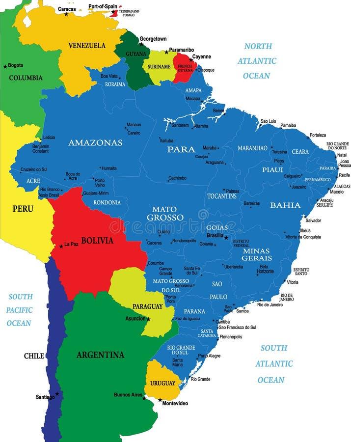 De kaart van Brazilië vector illustratie