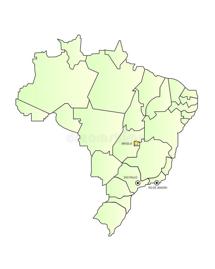 De kaart van Brazilië die met steden wordt geschetst