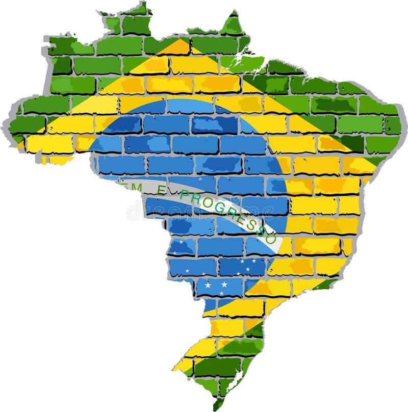 De kaart van Brazilië op een bakstenen muur royalty-vrije illustratie