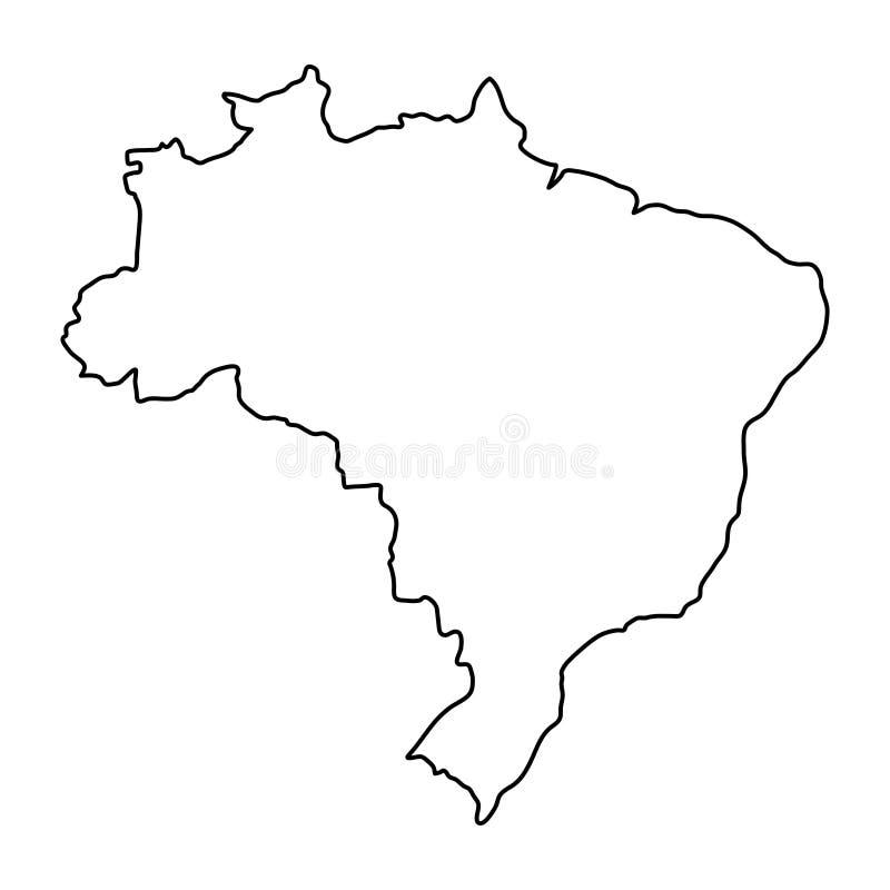 De kaart van Brazilië van zwarte de vectorillustratie van contourkrommen vector illustratie