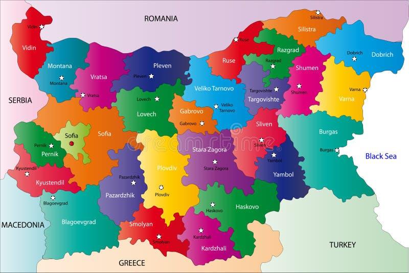 De kaart van Bulgarije stock illustratie