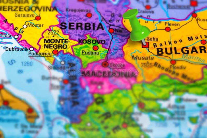 De kaart van Bulgarije Sofia stock foto's
