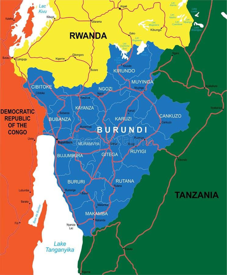 De kaart van Burundi royalty-vrije illustratie