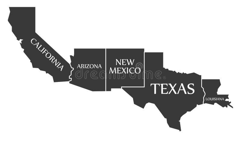 De Kaart van Californië - van Arizona - van New Mexico - van Texas - van Louisiane labell stock illustratie