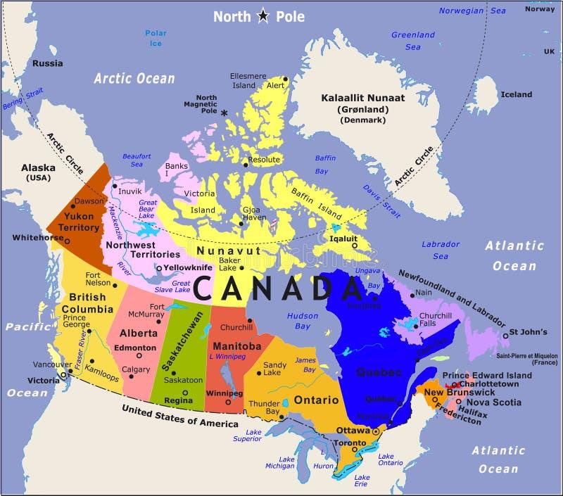 De kaart van Canada. vector illustratie