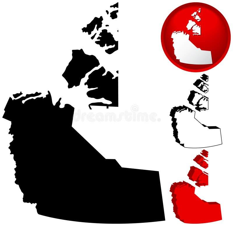 De Kaart van Canada van het Grondgebied van het noordwesten stock illustratie
