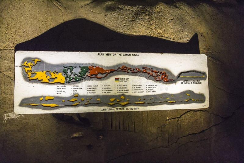 De kaart van Cangoholen bij de ingang, Karoo-woestijn, Zuid-Afrika stock afbeelding
