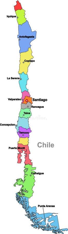 De kaart van Chili vector illustratie
