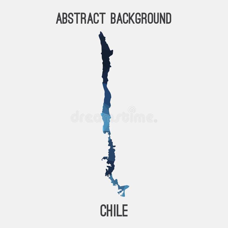 De kaart van Chili in geometrische veelhoekig, mozaïekstijl royalty-vrije illustratie