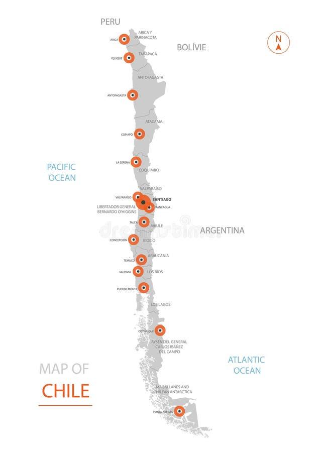 De kaart van Chili met administratieve afdelingen vector illustratie