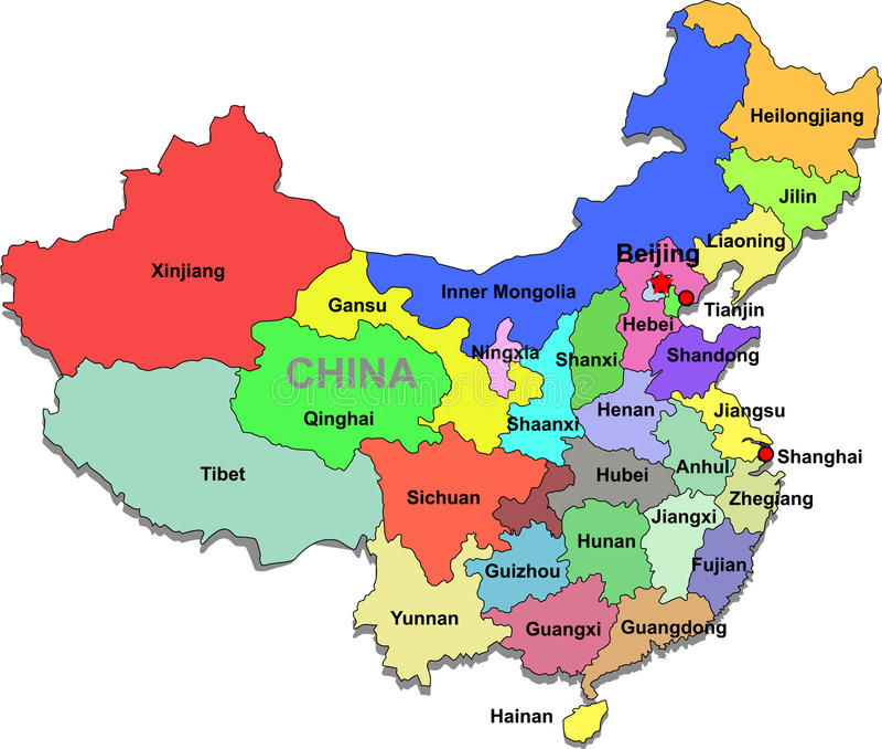 De kaart van China