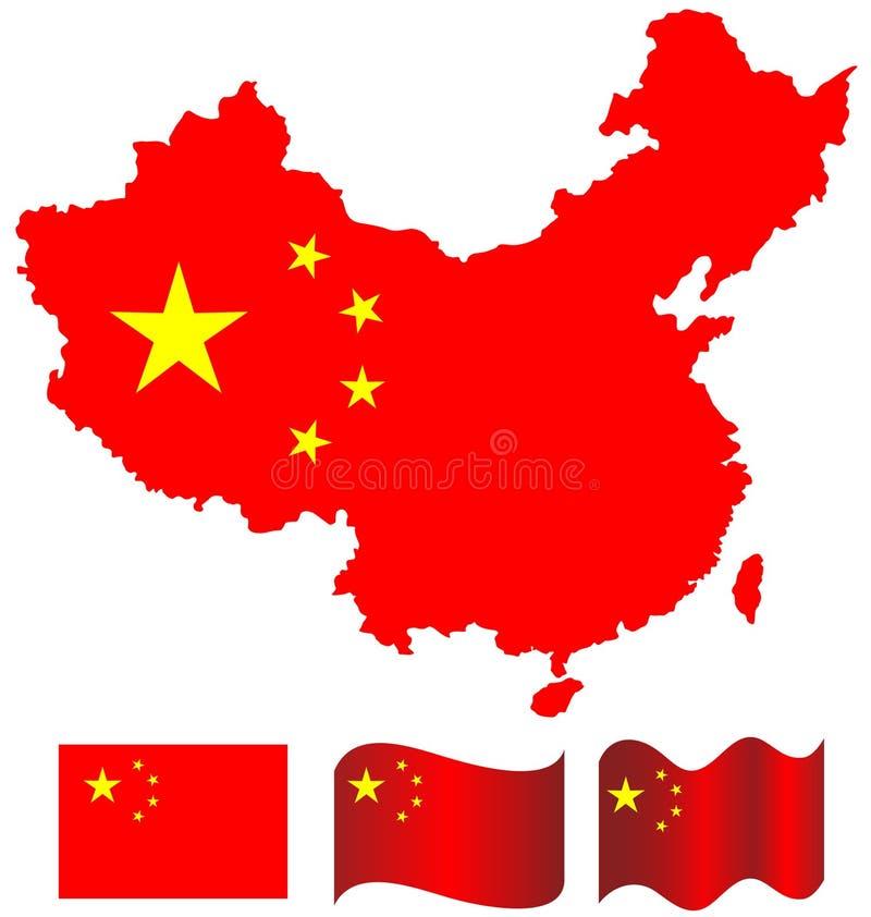 De kaart van China en vlag van China royalty-vrije stock afbeelding