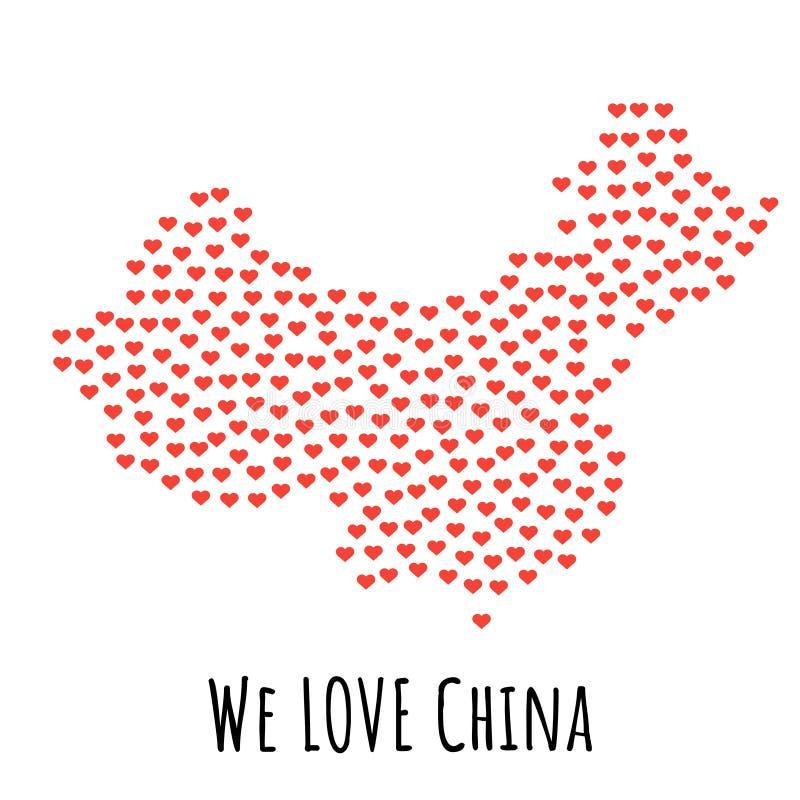 De Kaart van China met rode harten - symbool van liefde abstracte achtergrond vector illustratie