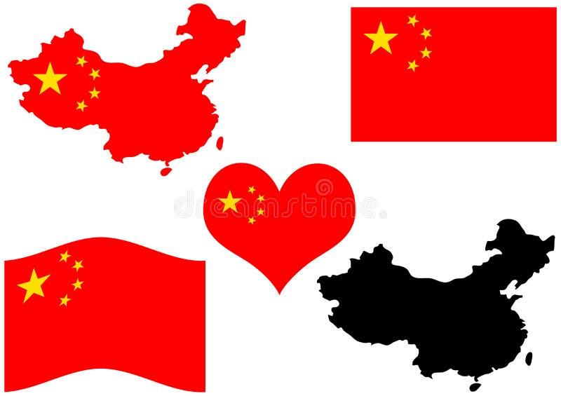De kaart van China met vlag en hart royalty-vrije illustratie