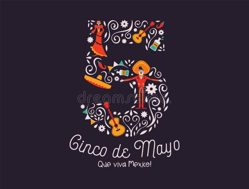 De 5de kaart van Cinco de Mayo May van Mexicaans cultuurpictogram vector illustratie