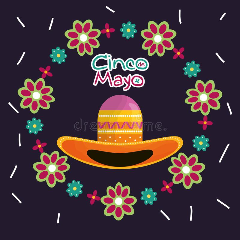 De kaart van de Cincode Mayo viering met Mexicaanse hoed royalty-vrije illustratie