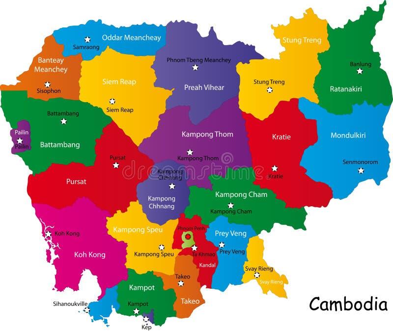 De kaart van Combodia stock illustratie