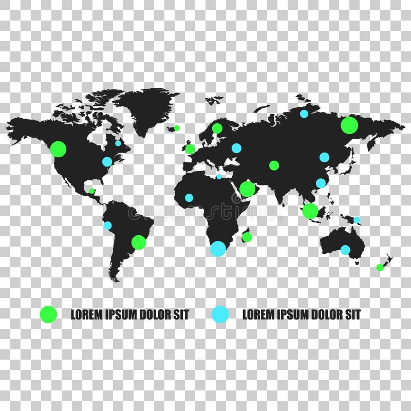 De kaart van de communicatienetwerkwereld Vectorillustratie op isolate royalty-vrije illustratie