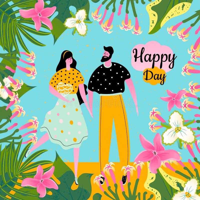 De kaart van de conceptontwerpgroet met pictogrammen van een man met een vrouw en tropische bloemen, bladeren royalty-vrije illustratie