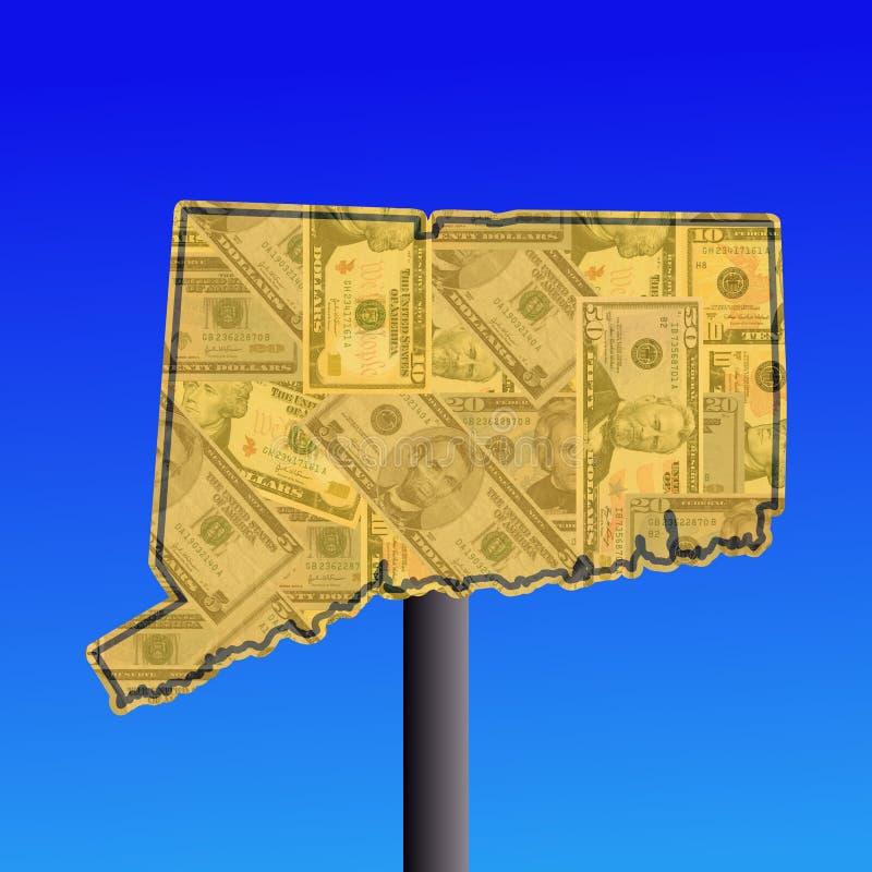 De kaart van Connecticut met contant geld stock illustratie