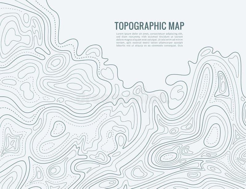 De kaart van de contourlijn Verhoging die van de textuur van de overzichtscartografie de contouren aangeven De topografische acht stock illustratie
