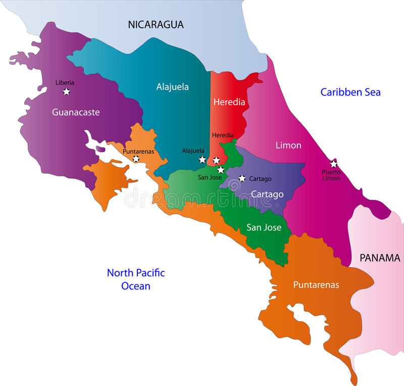 De kaart van Costa Rica royalty-vrije illustratie