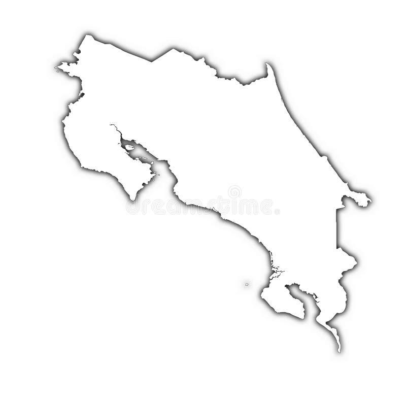 De kaart van Costa Rica met schaduw royalty-vrije illustratie