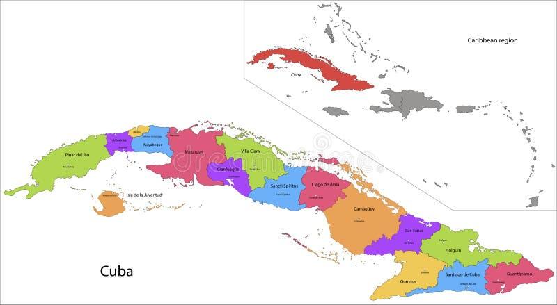 De kaart van Cuba stock illustratie