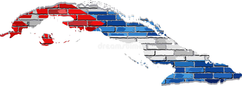 De kaart van Cuba op een bakstenen muur vector illustratie