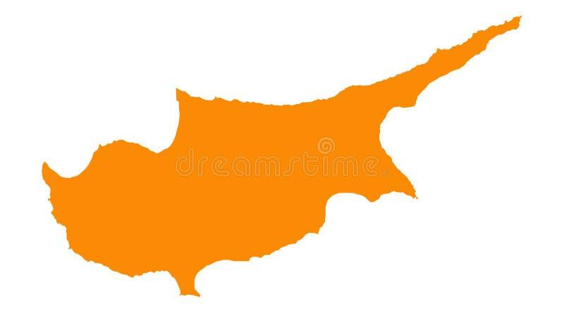 De kaart van Cyprus stock illustratie