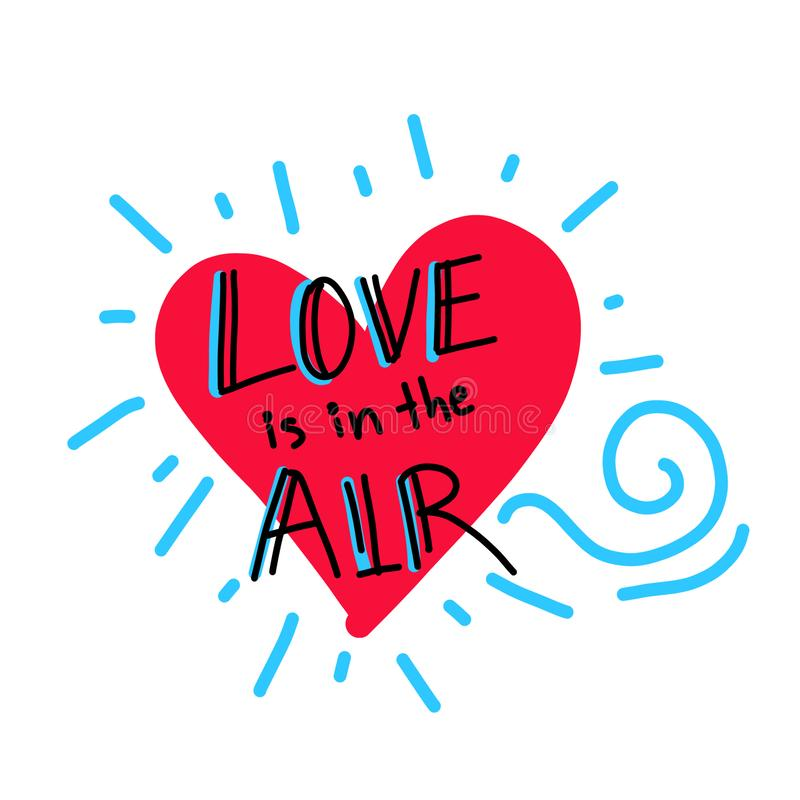 De kaart van de Dag van valentijnskaarten Hand getrokken ontwerp De liefde is in de lucht Vector illustratie stock foto's