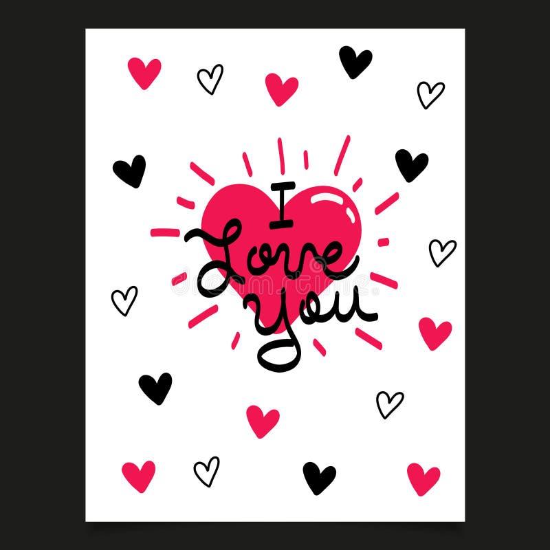 De Kaart van de Dag van valentijnskaarten met harten Vector illustratie royalty-vrije stock foto's