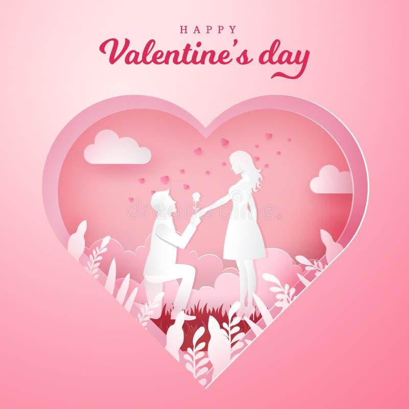 De kaart van de de daggroet van de valentijnskaart `s De jonge mens die aan zijn meisje en geven knielen nam toe stock illustratie