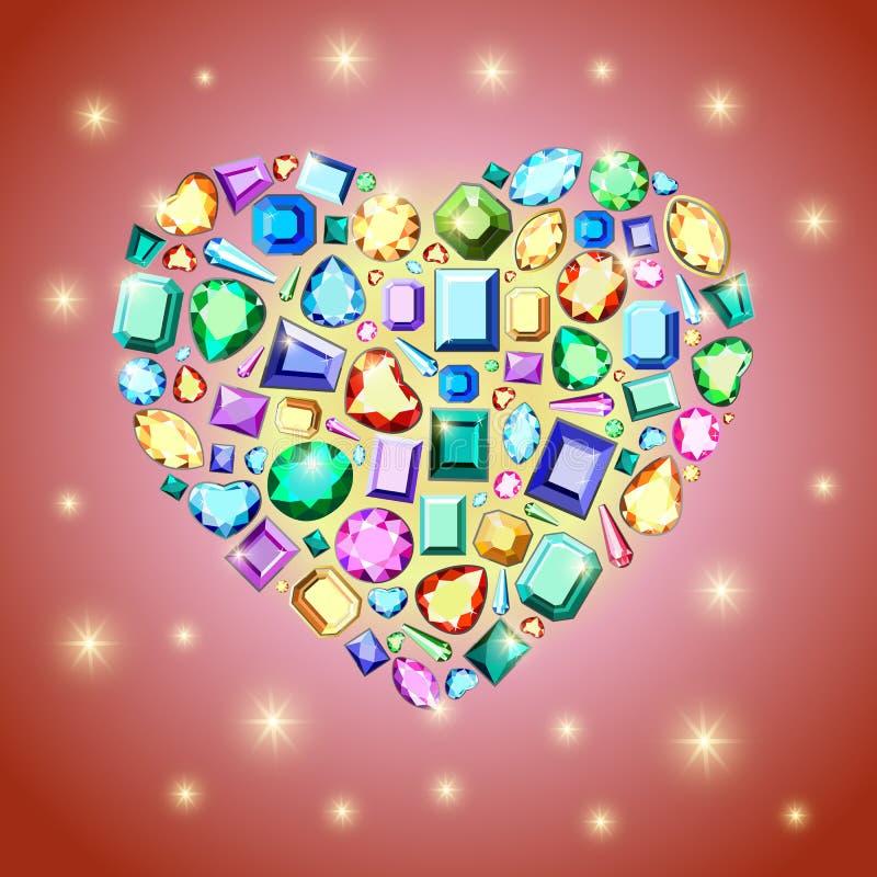 De kaart van de de daggroet van Valentine met diamanten op heldere rode backgr vector illustratie