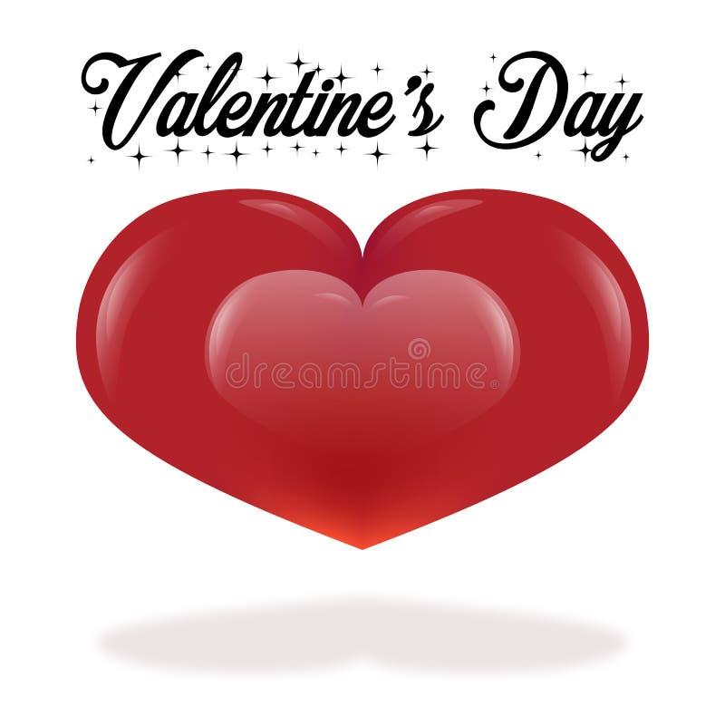 De kaart van de de daggroet van Valentine op witte achtergrond met exemplaarruimte stock illustratie