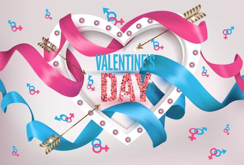 De kaart van de de Daggroet van Valentine ` s met hart gaf licht kader, krullende linten en symbolen van de mens en vrouw gestalt royalty-vrije illustratie