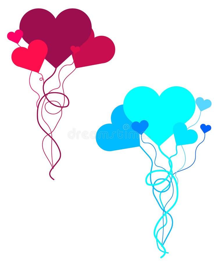 De kaart van de de daggroet van Webvalentine met roze en rode harten Reeks hart gevormde ballons royalty-vrije illustratie
